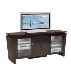 """Furnitech - 70"""" Classic Modern TV Media Console - 70"""" Classic Modern TV Media Console for Flat Screen and Audio Video Installations with a """"Floating Top"""" and Tapered Legs"""