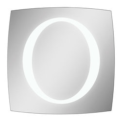 Ren-Wil - Trent Lighted LED Mirror - This mirror is perfect for any room with its unique shape and polished edges. The oval in the center of the mirror lights up with LED bulbs and can be surface mounted or recess mounted.