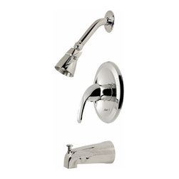"""PREMIER - Westlake Tub And Shower Faucet Chrome Finish - Zinc lever handle, pressure balance faucet and metal escutcheon """"Brass showerhead and arm, SS flange and zinc spout Ceramic cartridge with stop valve, valve includes valve body, ceramic cartridge and mud guard Trim kit includes brass showerhead and arm, shower flange, spout, escutcheon, and handle The smooth contours of Bayviews lever handle provide both a striking look and precise temperature control. Bayviews pressure balanced valve prevents hot water scalding and cold water shock due to fluctuations in water pressure. Complete your baths integrated look with this Bayview ceramic disc tub and shower faucet set. The Bayview tub and shower faucet features a metal lever handle and escutcheon, a brass showerhead and arm, a stainless steel flange, a zinc spout, a wear-resistant ceramic disc cartridge with stop valve, and a deluxe chrome finish. It complies with the requirements of the Uniform Plumbing Code and the Americans with Disabilities Act. It is covered by Premiers industry-leading Limited Lifetime Warranty."""
