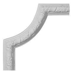 """Ekena Millwork - 9""""W x 9""""H Kendall Panel Moulding Corner II - 9""""W x 9""""H Kendall Panel Moulding Corner II. Our beautiful panel moulding and corners add a decorative, historic, feel to walls, ceilings, and furniture pieces. They are made from a high density urethane which gives each piece the unique details that mimic that of traditional plaster and wood designs, but at a fraction of the weight. This means a simple and easy installation for you. The best part is you can make your own shapes and sizes by simply cutting the moulding piece down to size, and then butting them up to the decorative corners. These are also commonly used for an inexpensive wainscot look."""
