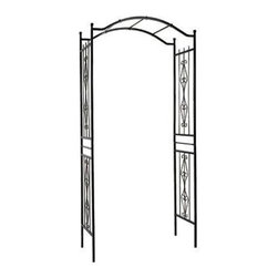 "Gardman USA - Charlestown Arch - CHARLESTON ARCH - 3'7"" wide x 7'7"" high x 17.5"" deep. Sturdy, black polyester powder-coated steel construction. Easily assembled - instructions included. Ground hole-maker provided for easy fitting."