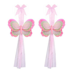 "Bugs-n-Blooms - Butterfly Tie Backs Dark Pink Green Triple Layered Butterflies Tieback Pair Set - Window Curtains Holder Holders Tie Backs to Decorate for a Baby Nursery Bedroom, Girls Room Wall Decor - 7""W x 5""H Pink Brown White Triple Layered Curtain Tieback Set Butterfly 2pc Pair - Beautiful window curtains tie backs for kids room decor, baby decoration, childrens decorations. Ideal for Baby Nursery Kids Bedroom Girls Room.  This gorgeous butterfly tieback set is embellished with triple layered wings.  This pretty butterfly decoration is made with a soft bendable wire frame & have various color match trails of organza ribbons.  Has 2 thick color matched organza ribbons to wrap around the curtains.  Visit our store for more great items. Additional styles are available in various colors, please see store for details. Please visit our store on 'How To Hang' for tips and suggestions. Please note: Sizes are approximate and are handmade and variances may occur. Price is for one pair (2 piece)"