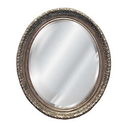Hickory Manor House - Ornate Oval Beveled Mirror in Shimmer Finish - Vintage original. Custom made by artisans unfortunately no returns allowed. Enhance your decor with this graceful mirror. Made in the USA. Made of pecan shell resin. 36 in. W x 46 in. H (38 lbs.)