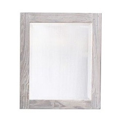 """KCK Bathroom Mirrors & Accessories - Small Americana Mirror In Driftwood - Available Large and Small, each in Chestnut, Whitewash and Anvil finishes. Crafted from recycled wood for exceptional strength. Handcrafted in the USA. Beveled edge glass. Includes mounting hardware. 21 1/2"""" W x 25 1/2"""" D"""
