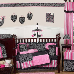 Sweet Jojo Designs - Madison 9-Piece Crib Bedding Set - The Madison 9 piece Crib Bedding Set by Sweet Jojo Designs has all that your little bundle of joy will need. Let the little one in your home settle down to sleep in this incredible nursery set. This baby girl bedding set features exclusive Sweet Jojo Designs 100% cotton prints, including a black and white scroll print, a bold designer stripe and mini polka dot print. It also boasts an incredibly soft minky swirl chenille. This collection uses the stylish colors of pink, black and white. The design uses 100% cotton fabrics combined with soft chenille fabrics that are machine washable for easy care. This wonderful set will fit all cribs and toddler beds.
