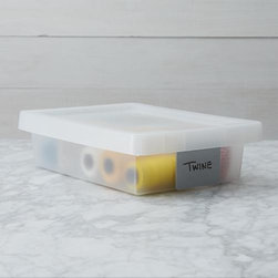 Small Grey Tag Box - Durable stacking storage boxes with a unique, modern design in translucent polypropylene come outfitted with an erasable grey label tags to control clutter all through the home.