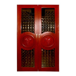 Vinotemp - Vinotemp 700-Concord Two Door Grape Motif 440 Bottle Wine Cooling Cabinet - CONC - Shop for Wine Refrigerators from Hayneedle.com! The Vinotemp 700 - Concord Two Door Grape Motif Cooling Cabinet will store your fine wines safely securely and in perfectly elegant style. This distinctive design features a pair of glass doors each showcasing a richly textured hand-carved grape motif. This classic design beautifully complements the cabinet's modern functionality. Capable of storing approximately 440 bottles of wine it boasts an attractive unfinished white oak exterior and comes complete with two locks and keys. The universal 3.75-inch racking has been crafted from durable redwood and aluminum. It's designed to fit most bottle sizes. This top-of-the-line cabinet includes digital temperature control for your convenience. It measures 51 inches wide by 29 inches deep and stands 88 inches tall.Handcrafted using domestic woods each Vinotemp wine-cooling cabinet maintains an ideal environment for both short-term storage and long-term aging of all types of wines. This all-in-one solution maintains a temperature of 55 degrees Fahrenheit and a humidity level ranging from 50 to 70 percent. The resulting environment is remarkably similar to that of the cool caves used to store wine in France. Each unit utilizes a Wine Mate 1500BTU self-contained cooling system with an insulation factor of R12. Please note that the back exhaust configuration requires a minimum of 4 to 6 inches on the back 12 inches on the sides and 6 to 12 inches above for proper ventilation.Bottle capacities are approximate and will vary depending upon bottle shape. Each cabinet is built to order with precision construction and attention to detail. Shipping range is 4-6 weeks.Note: Single Zone wine coolers are intended to store only one type of wine at a time as they have only one temperature zone that can be set to cool either red white or sparkling wine.About VinotempBased in Southern California since 