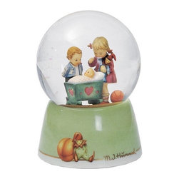 M I Hummel - M I Hummel 'Blessed Event' Waterglobe - This sibling motif is surrounded by glass atop a hand painted ceramic base. Hear the music play, watch the glitter swirl, and see someone's eyes light up with joy.