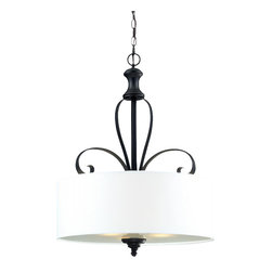 Three Light Matte Black White Linen Shade Drum Shade Pendant - A white linen shade and bold matte black hardware create a modernly styled fixture, with plenty of traditional charm. This pendant is truly the best of both the modern and traditionally styles of lighting decor.