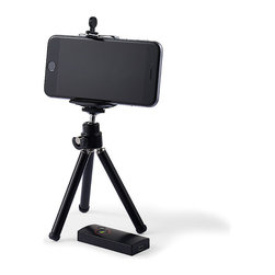 Frontgate - Bluetooth Shutter with Tripod - Syncs directly with your smartphone via Bluetooth. Compatible with all Apple devices and Android 4.0 and up. Includes remote control and adjustable tripod. Ideal for self and group portraits, this handheld remote control lets you snap hand-free photographs from a distance of 30 ft. while your phone rests securely on the adjustable tripod.  .  .  .