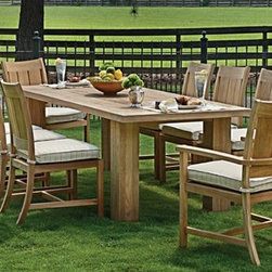 Outdoor Furniture For Oceanfront Houses - Have an outdoor dinner party with Summer Classics Croquet Teak dining set!