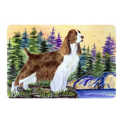 Caroline's Treasures - Springer Spaniel Kitchen or Bath Mat 24 x 36 - Kitchen or Bath Comfort Floor Mat This mat is 24 inch by 36 inch. Comfort Mat / Carpet / Rug that is Made and Printed in the USA. A foam cushion is attached to the bottom of the mat for comfort when standing. The mat has been permanently dyed for moderate traffic. Durable and fade resistant. The back of the mat is rubber backed to keep the mat from slipping on a smooth floor. Use pressure and water from garden hose or power washer to clean the mat. Vacuuming only with the hard wood floor setting, as to not pull up the knap of the felt. Avoid soap or cleaner that produces suds when cleaning. It will be difficult to get the suds out of the mat.