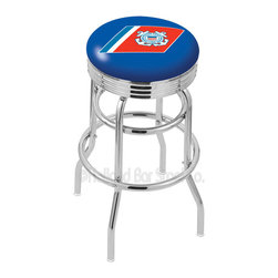 "Holland Bar Stool - Holland Bar Stool L7C3C - Chrome Double Ring U.S. Coast Guard Swivel Bar Stool - L7C3C - Chrome Double Ring U.S. Coast Guard Swivel Bar Stool w/ 2.5 Inch Ribbed Accent Ring belongs to Military Collection by Holland Bar Stool Made for the ultimate sports fan, impress your buddies with this knockout from Holland Bar Stool. This retro L7C3C logo stool has a 2.5"" cushion with a tough double-ring base with a chrome finish and a fashionable 3"" ribbed chrome accent ring under the cushion to spice it up. Holland Bar Stool uses a detailed screen print process that applies specially formulated epoxy-vinyl ink in numerous stages to produce a sharp, crisp, clear image of your team's emblem. You can't find a higher quality logo stool on the market. The structure is triple chrome-plated to ensure a rich, polished finish that will last ages. If you're going to finish your bar or game room, do it right- with a Holland Bar Stool. Barstool (1)"