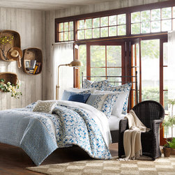 Harbor House - Harbor House Haven 3-piece Cotton Duvet Cover Set - The Harbor House Haven duvet cover set can change the feeling of your entire space. Shades of blue and taupe work together in this diamond and medallion pattern creating a unique painted look. Machine washable for easy care and repeated use.