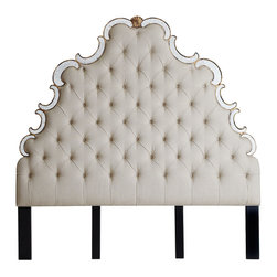 """Horchow - Bristol Queen Headboard - Bristol Queen HeadboardDetailsTufted linen headboard edged with antiqued mirror and wood accents with hand-painted golden highlights.Made of hardwood solids mirror glass and linen.64""""W x 4""""D x 82.875""""T; adjusts to 85.675""""T or 87.875""""T.Imported.Boxed weight approximately 148 lbs. Please note that this item may require additional shipping charges.Please note: our carriers do not assemble headboards."""