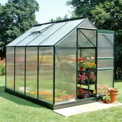 Halls Popular Green 6 x 8-Foot Greenhouse - Additional Features 4mm thick double-walled panels Includes aluminum or plastic strips to attach to the ends Strips prevent objects getting stuck between the layers UV resistant coating protects your plants 2 roof vents for ample ventilation Beautiful green frame accents the greenhouse Door measures 24W x 64H inches Sidewall measures 4 feet Peak height measures 6.5 feet Measures 6W x 8L x 6.5H feet The gardener in you will love the 49 square feet of growing space found inside the Halls Popular Green 6 x 8-foot greenhouse. The greenhouse has two roof vents to make sure your plants receive plenty of ventilation. A beautiful addition to your yard you'll love the way the green frame looks against the panels. The greenhouse is made with 4mm thick double-walled panels that have a polycarbonate glaze to diffuse the light and a protective UV resistant coating to keep your plants from getting burned. Lightweight and virtually unbreakable the Halls Popular Greenhouse features plastic or aluminum strips that attach to the ends and prevents dirt bugs and other foreign objects from getting stuck between the panels. Assembly is a weekend project for one or two people. About The Greenhouse Connection LLCThe Greenhouse Connections was established in 1993 to connect gardeners who are looking for a well-made traditional English greenhouse with Halls Garden Products Ltd. of England the world's leading manufacturer of hobby greenhouses. By networking with a variety of people and companies including independent garden centers nurseries mail-order garden and seed catalogs and greenhouse supply companies The Greenhouse Connection does just that. Their offices are located in Grant Pass OR.