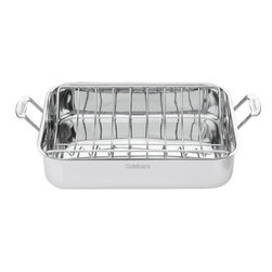 "Cuisinart - Cuisinart Stainless Steel 16"" Roasting Pan with Rack - Designed to hold turkeys, chickens and large roasts"