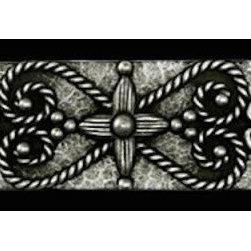 "Compliments Accessories - Isabella Tile Liner - Old world Florentine design 1x6"" liner in a Pewter finish"