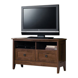 Sauder - Sauder August Hill Corner TV Stand in Oiled Oak - Sauder - TV Stands - 410627 - Inspired by antiques and heirlooms the arts and crafts influenced design of August Hill is like finding a reassured piece from historic home magically updated to serve today's changing needs and lifestyles. The warm Oiled Oak finish plays well with any home decor and existing woodwork enabling August Hill to blend in or stand alone as an accent.