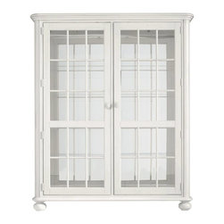 Stanley - Coastal Living Retreat Newport Storage Cabinet, Saltbox White - Peer through the seeded glass doors and into another time. Generously oversized shelves, built-in lights and mirrored back offer unexpected impact.