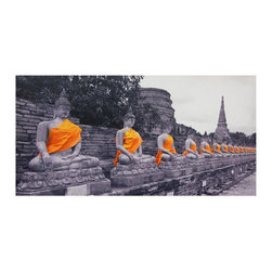 Oriental Furniture - Golden Buddhas Canvas Wall Art - Black and white photographic print digitally enhanced with colorized saffron sashes. Saffron is an auspicious color in Buddhist tradition, and the statues are decorated in this manner only on important days in the Buddhist religious calendar.