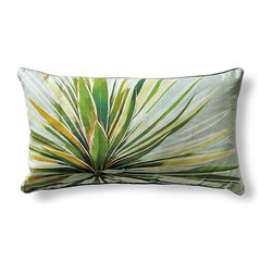 Frontgate - Agave Perle Lumbar Pillow - 100% printed cotton. Corded edge provides a designer finish. Color palette coordinates with many home decor styles. Concealed zipper closure. Luxurious, soft insert: 95% down, 5% feathers. Enliven your bedding ensemble with the fresh styling of our Agave Perle Decorative Pillow by Iosis. Printed with an artist's rendition of an agave plant, vibrant green and yellow leaves spread across a subdued pearl gray background, creating a beautifully complementary contrast.. . . . . From international luxury linen house Yves Delorme. Vibrant yet sophisticated style complements our Douce Bedding and Palm Beach Resort collection. Dry clean. Made in France.
