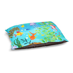 """DiaNoche Designs - Dog Pet Bed Fleece by nJoyArt - Happy Fish III - DiaNoche Designs works with artists from around the world to bring unique, designer products to decorate all aspects of your home.  Our artistic Pet Beds will be the talk of every guest to visit your home!  BARK! BARK! BARK!  MEOW...  Meow...  Reallly means, """"Hey everybody!  Look at my cool bed!""""  Our Pet Beds are topped with a snuggly fuzzy coral fleece and a durable underside material.  Machine Wash upon arrival for maximum softness.  MADE IN THE USA."""