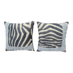 Pair of Zebra Print Pillows - Pair of 14X14 pillows covered in the Clarence House Mandari, zebra pirnt fabric and accented with asymmetrical Robert Allen blue/white tape.