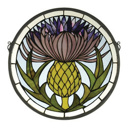 Meyda Tiffany - Meyda Tiffany Thistle Tiffany Window X-63482 - From the Thistle Collection, this Meyda Tiffany Tiffany window features a close-up of a thistle. The beautiful shades of purple are complimented by a softened mauve hue paired with spring green, offset by a soft blue-grey backdrop. Off-white trim with subtle warm undertones completes the look.
