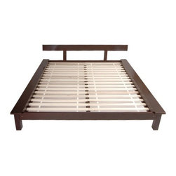 Oriental Furniture - Tatami Platform Bed - Features: -Bed.-Striking design traditional Japanese style.-Can be topped with tatami mats and futons as well as with standard ''Western'' style mattresses.-Designed to fit with tatami mats.-Philippine mahogany wood construction.-Rosewood finish.-Distressed: No.-Collection: Tatami.Dimensions: -California king: 10''H x 76'' W x 80'' D.-Weight: 129 lbs.-Overall Product Weight: 129 lbs.