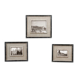 """Uttermost - Uttermost Kalidas Cloth Lined Photo Frames, Set of 3 18537 - Distressed black frames with gray undertones and burlap liner. Holds photo Sizes: 4""""W x 6""""H, 5""""W x 7""""H, 8""""W x 10""""H. Frames Sizes: Small size:10""""W x 12'H x 1""""D, Medium size: 11""""W x 13""""H x 1""""D, Large size: 14""""W x 16""""H x 1""""D."""