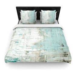 """Kess InHouse - Iris Lehnhardt """"Bluish Green"""" Neutral Blue Woven Duvet Cover (Twin, 68"""" x 88"""") - Add a splash of artistically inclined comfort to the average down comforter with a large focus to your bed! Our duvet cover is made of a beautifully crafted woven polyester fabric on top and a comforting and soft cotton/poly blend on bottom! We highly recommend washing your artwork before laying it onto your bed for added comfort and softness! These are totally machine washable and won't fade!"""