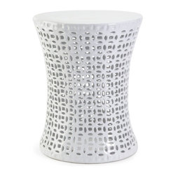 IMAX CORPORATION - Huff Cutwork Garden Stool - A crisp white glaze adds a refreshing take to the handcrafted Huff Cutwork Garden Stool. Find home furnishings, decor, and accessories from Posh Urban Furnishings. Beautiful, stylish furniture and decor that will brighten your home instantly. Shop modern, traditional, vintage, and world designs.