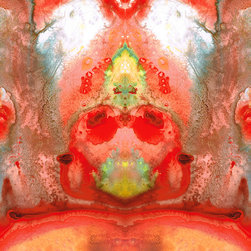 The Looking Glass Series - Om - Red Meditation - Abstract Art By Sharon Cummings. Buy Fine Art Prints Online.