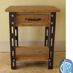 International Caravan - International Caravan Rustic Forge One-drawer Side Table - Add a touch of the timeless to your indoor furnishings with the Rustic Forge One-Drawer Side Table , which combines the rustic appearance of iron smithing with the versatility and strength of a Wood Veener and MDF build.