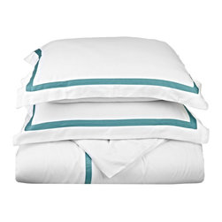 """Hotel Collection 300 Thread Count Cotton White/Turquoise King Pillowcase Set - A hotel luxury way to decorate your bedroom with a 300 Thread Count Pillowcase Set. The perfect complement to a guest bedroom or master suite! These 300 thread count pillowcases of premium long-staple cotton are """"sateen"""" because they are woven to display a lustrous sheen that resembles satin. Coordinate with our Hotel Collection Duvet Cover Sets and Bed-skirts! Set includes Two Pillowcases 20x40 each."""