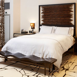 Bed with Hand-Tied Bamboo Headboard - This is a contemporary custom made bed with a hand-tied bamboo headboard inside a wooden frame.