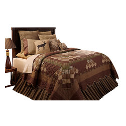VHC Brands - Barrington Country Cabin Patchwork Quilt - Barrington Quilt featrues shades of tan, brown and dark sage.  This design by VHC Brands is perfect for your cabin or primitive themed room with rustic country patchwork in the soft autumn shades. 100% Cotton. Lasting Impressions Collection.