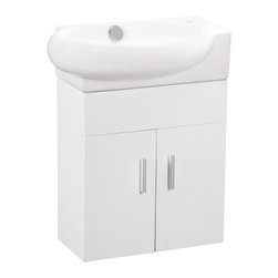 Elite Sinks - ELANTI SET EC9888P Melamine Wall-Hung Vanity W/2 Doors INCLUDING EC9888-L Sink - The clean lines of this white melamine vanity cabinet and sink are a beautiful addition to your bathroom. Behind two doors is ample storage in a small space. This vanity only fits with sink EC9888 and is sold as a set. Elite Sinks manufactures our own classic high-quality vanities and sells them directly to you!