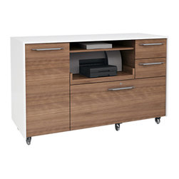 BDI - Format Mobile Credenza, Walnut and Satin White - The Format Mobile Credenza by BDI is perfect for the home office or work space. The minimalist and clean design is combined with file drawers, casters for easy mobility, and a pull out shelf for a printer. Two color options available.
