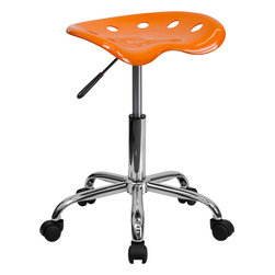 Flash Furniture - Vibrant Orange Tractor Seat and Chrome Stool - On the market for a stool but want to add a little color to your home or office? This sleek, modern stool conforms to several areas in the home or office. The molded tractor seat offers great comfort. The small frame design of this backless stool makes it easy to maneuver around tight spaces with ease. This stool can be used for a variety of reasons other than just at a desk and is offered at a very affordable price.