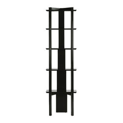 No. 4094 EASEL ETAGERE by Baker Furniture - This dramatic etagere is a contemporary display piece with great function and greater character. Inspired by a Japanese easel, the design eschews the western architectural model of an étagère - in favor of something sleek, with less of a footprint, and more of a nod to the exotic. A cascading back accepts fixed shelves, themselves chamfered for a sense of lightness, supported by long canted and framed legs.