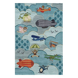 Momeni - Momeni Lil Mo Whimsy Lmj10 Sky Rug - Lmojulmj10Sky5070 - Forest critters, retro robots and mod flowers, oh my! Quirky motifs combine to put 'Lil Mo Whimsy in a class by itself. Hand-tufted of soft mod-acrylic, this collection features hand-carving for added texture and a vibrant color palette to make it as fun as it is unique.