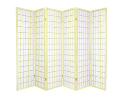 Oriental Furniture - 6 ft. Tall Window Pane - Special Edition, Ivory, 6 Panel - The popular Window Pane Shoji Screen is now available in a special edition run of beautiful new colors! The fiber-reinforced Shoji rice paper offers privacy while allowing diffused light to filter through, and the Scandinavian spruce frame is both durable and lightweight. This special edition won't last forever, so pick your favorite color today while supplies last!