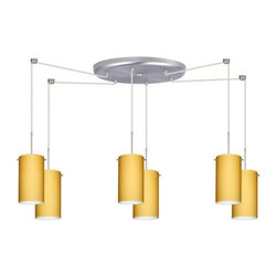 Besa Lighting - Besa Lighting 6BC-4404VM Stilo 6 Light Cord-Hung Mini Pendant - Stilo 7 is a classic open-ended cylinder of handcrafted glass, a shape that will stand the test of time. Our Vanilla Matte glass is a light golden cased glass and opal inner layer. The orange glow has a low key harmonious display that exudes a warm mood. When lit the glass is vitalizing as well as stylish. The smooth satin finish on the outer layer is a result of an extensive etching process. This blown glass is handcrafted by a skilled artisan, utilizing century-old techniques passed down from generation to generation. The cord pendant fixture is equipped with six (6) 10' SVT cordsets and a 6-light large round canopy, six (6) suspension stemhooks included.Features: