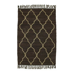 Homespice Décor - 4' x 6' Trellis Mocha - Mocha is accented with tan hand-loomed jute.  Do not machine wash. Use mild soap and cold water for minor spills and stains. Professional rug cleaning recommended. Remove from floor if wet to avoid color transfer. See Warranty for other care recommendations.