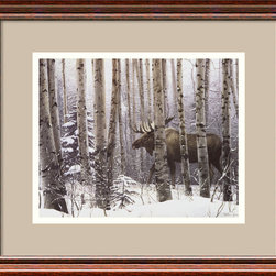 "Amanti Art - ""A Walk In the Woods"" Framed Print by Stephen Lyman - This wintry scene looks like it jumped off the pages of a fairy tale. Artist Stephen Lyman presents a breathtaking look into the wild with this print of a stolen moment in the woods."