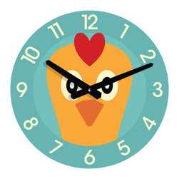 Nursery Code - Chicken WALL CLOCK for kids room - Chicken wall clock for kids room who love animals.