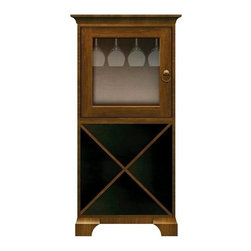 Howard Miller Custom - Ella Cabinet w 1 Door in Saratoga Cherry - This cabinet is finished in Saratoga Cherry on select Hardwoods and Veneers, with Antique Brass hardware. 1 door with plain Glass. 1 cross storage shelf and 1 stemware rack. Cove profile top and cove profile base. Hardware: ring pull on door. Features soft-close door. 27 1/4 in. W x 17 in. D x 54 3/4 in. H