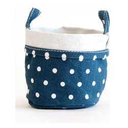MAIKA - Recycled Canvas Bucket, Dots Navy, Small - AS SEEN ON THE TODAY SHOW